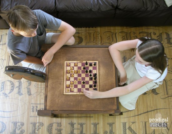 Reclaimed Chess Table by Larissa of Prodigal Pieces | prodigalpieces.com