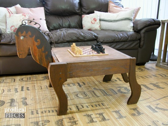 Reclaimed Game Table Horse Built by Larissa of Prodigal Pieces | prodigalpieces.com