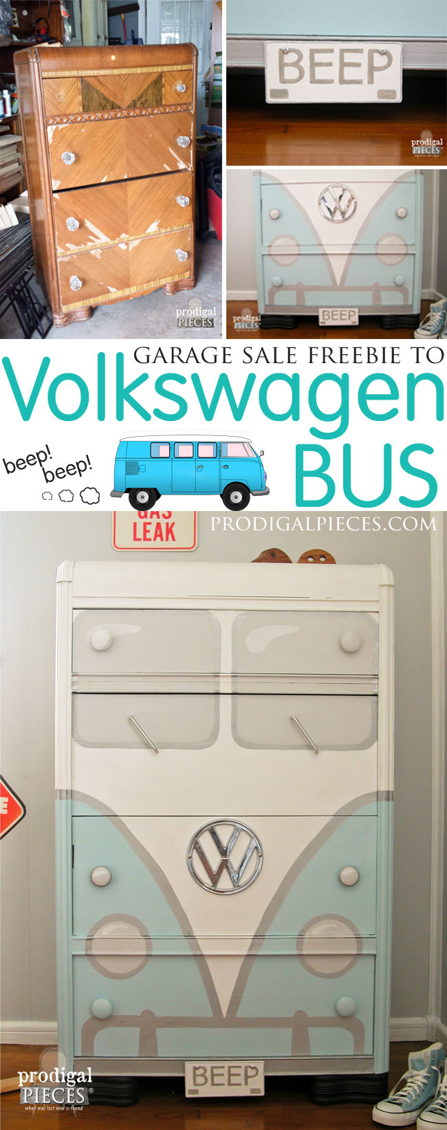Vintage Waterfall Dresser Gets Volkswagen Bus Makeover by Prodigal Pieces | www.prodigalpieces.com