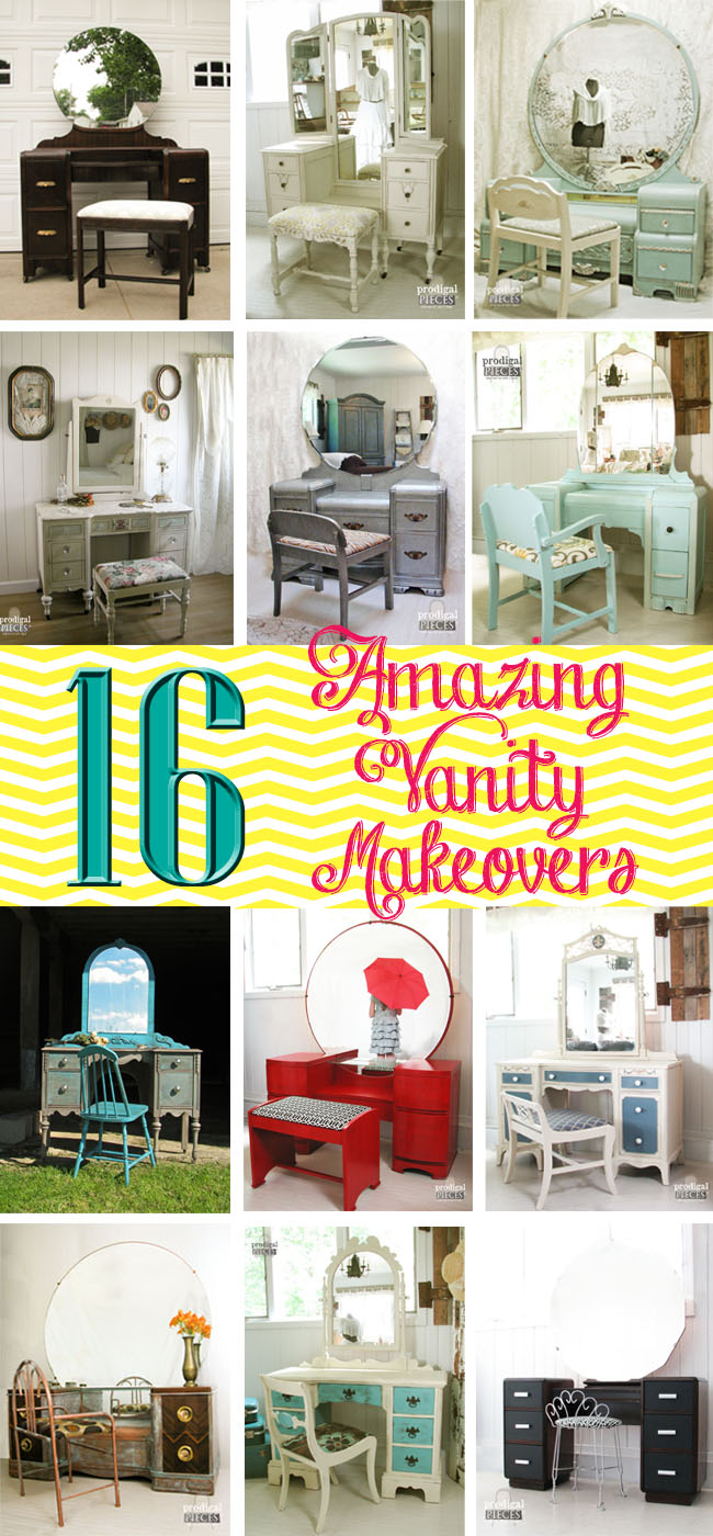 16 Amazing Vanity Makeovers from Art Deco to Antique - a must see! by Prodigal Pieces | prodigalpieces.com