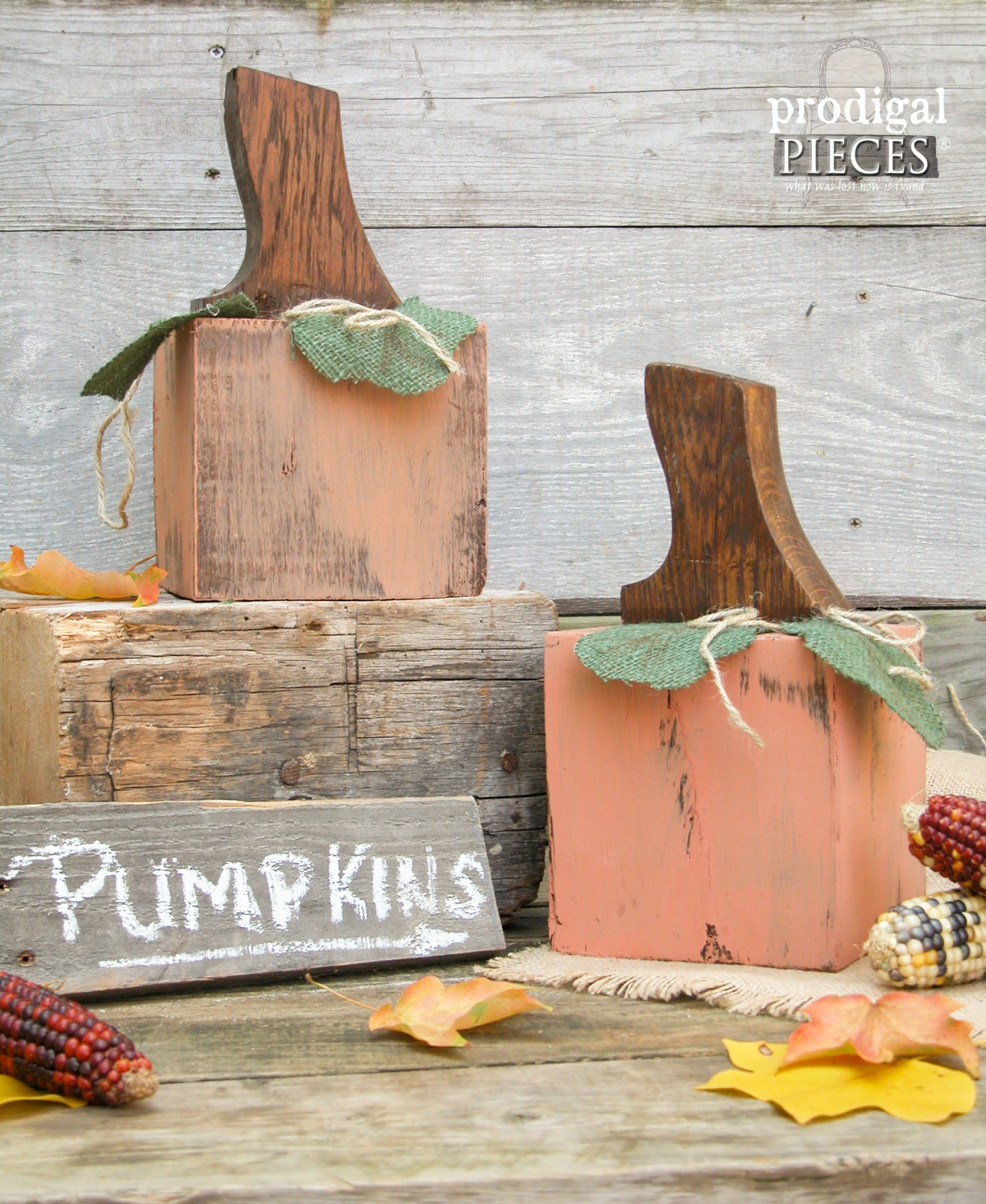 Repurposed Wooden Pumpkins by Prodigal Pieces | www.prodigalpieces.com