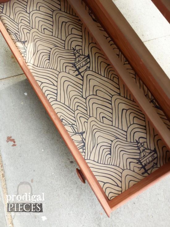 Paper Lined Drawer of Vintage Dresser | prodigalpieces.com