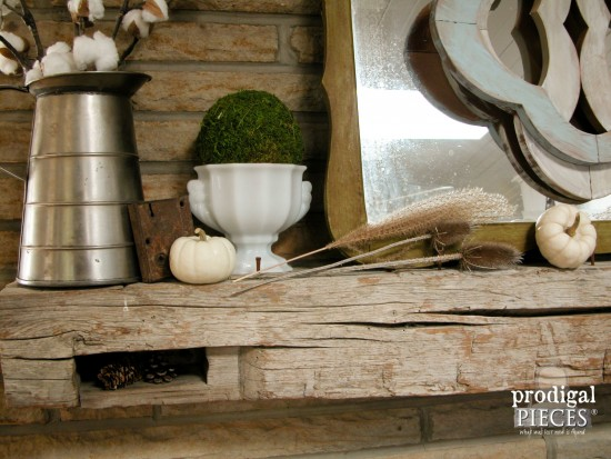 Reclaimed Barn Beam Mantel for Fall Farmhouse Decor by Larissa of Prodigal Pieces | prodigalpieces.com #prodigalpieces