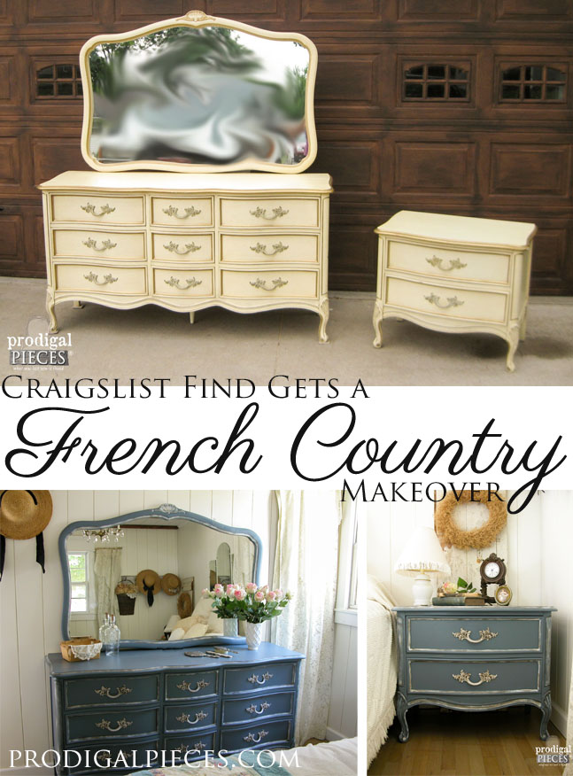 French Provincial Blue Dresser Set Makeover by Prodigal PIeces | www.prodigalpieces.com