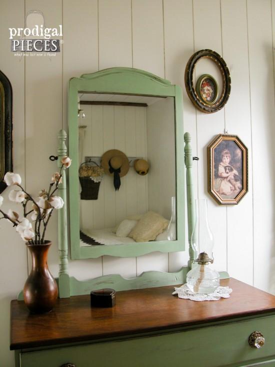 Vintage Farmhouse Dresser with Mirror by Larissa of Prodigal Pieces | prodigalpieces.com