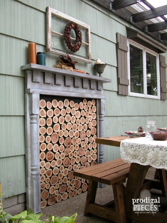 Build a Faux Fireplace Inside or Out with Tutorial by Larissa of Prodigal Pieces | prodigalpieces.com