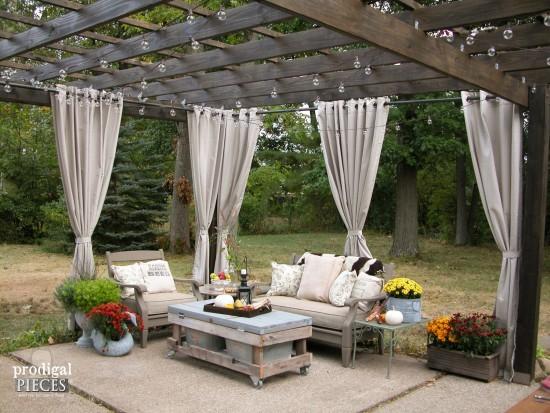 DIY Patio with Pergola and Repurposed Furniture | Prodigal Pieces | prodigalpieces.com