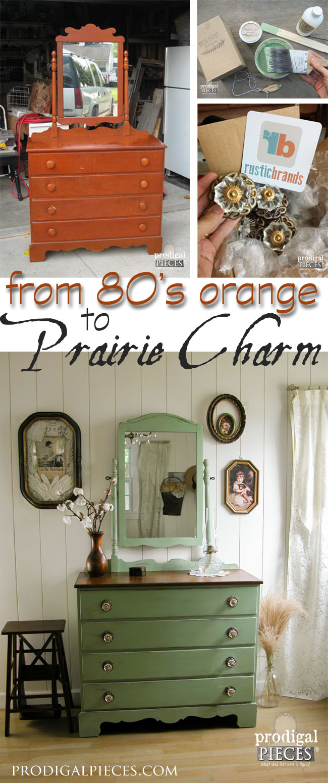 1980's Orange Dresser Gets Prairie Charm Makeover by Prodigal Pieces | prodigalpieces.com