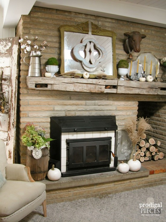 Natural Style Fall Mantel for Farmhouse Decor by Larissa of Prodigal Pieces | prodigalpieces.com #prodigalpieces