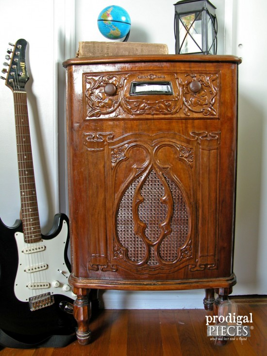 Repurposed Antique Radio Cabinet as Secret Storage in Teen Boys' Room | Prodigal Pieces | www.prodigalpieces.com