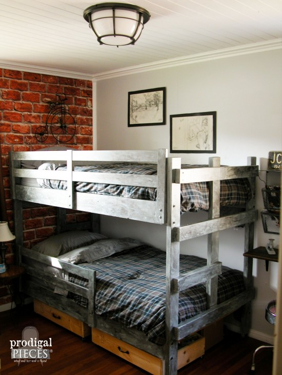 A teen boys' room gets a vintage industrial makeover with faux brick  wallpaper, metal