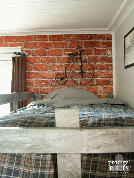 Faux Brick Wallpaper in Teen Boys' Room Makeover by Prodigal Pieces | prodigalpieces.com