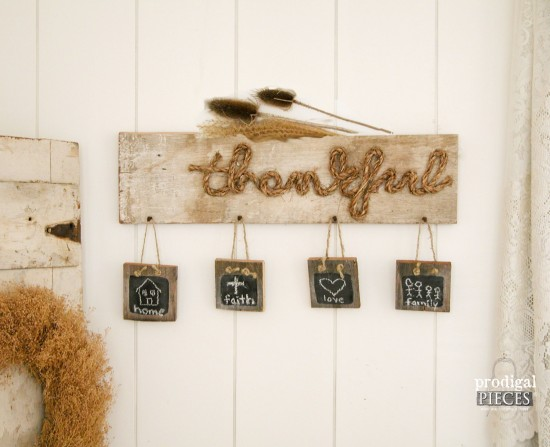 "White Barn Wood & Chalkboard ""Thankful"" Sign by Prodigal Pieces 
