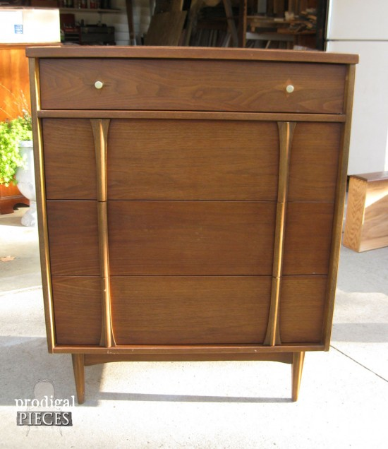 Mid Century Chest before Makeover by Prodigal Pieces | prodigalpieces.com