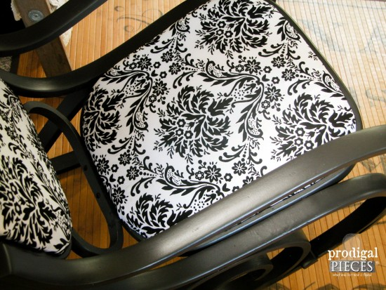 Black Damask Upholstery on Bentwood Rocking Chair | prodigalpieces.com