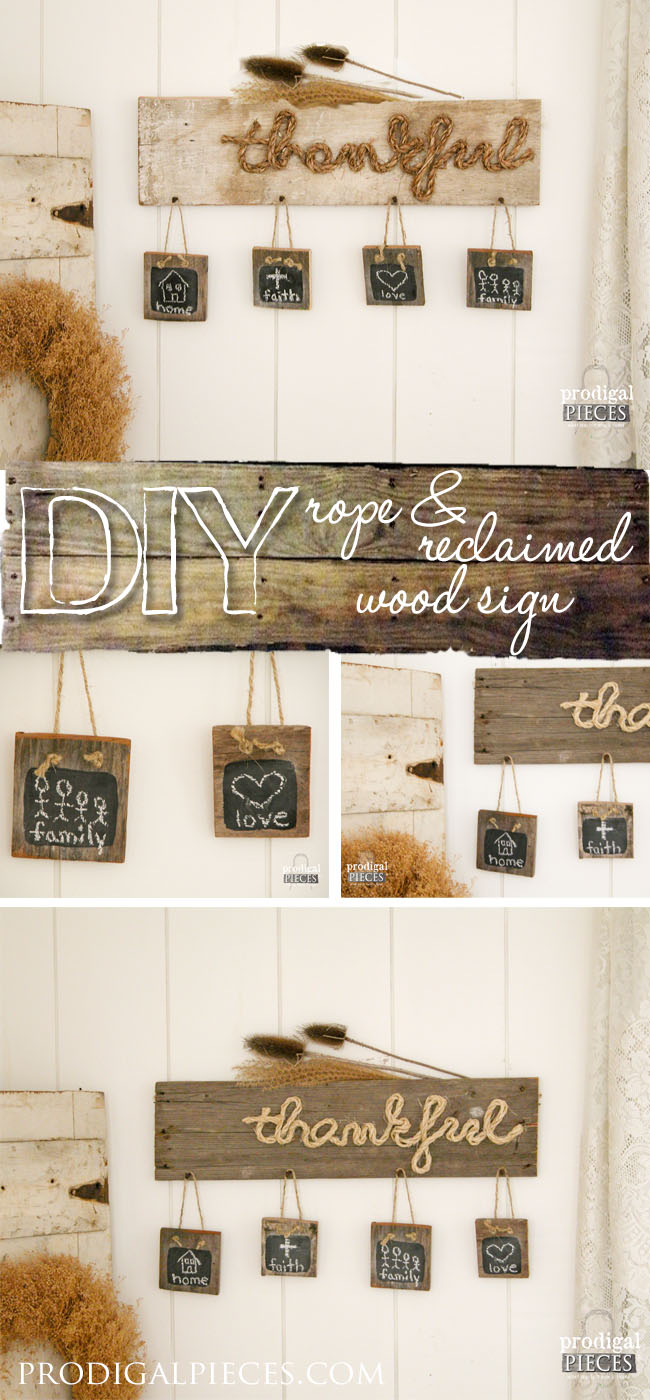 "Build a DIY ""Thankful"" sign perfect for the holiday season out of new or reclaimed wood by Prodigal Pieces 