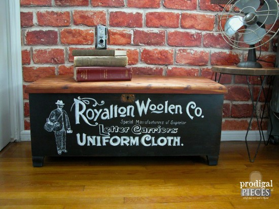 Thrifted Acme cedar chest is an industrial work of art with vintage typography by Prodigal Pieces | prodigalpieces.com