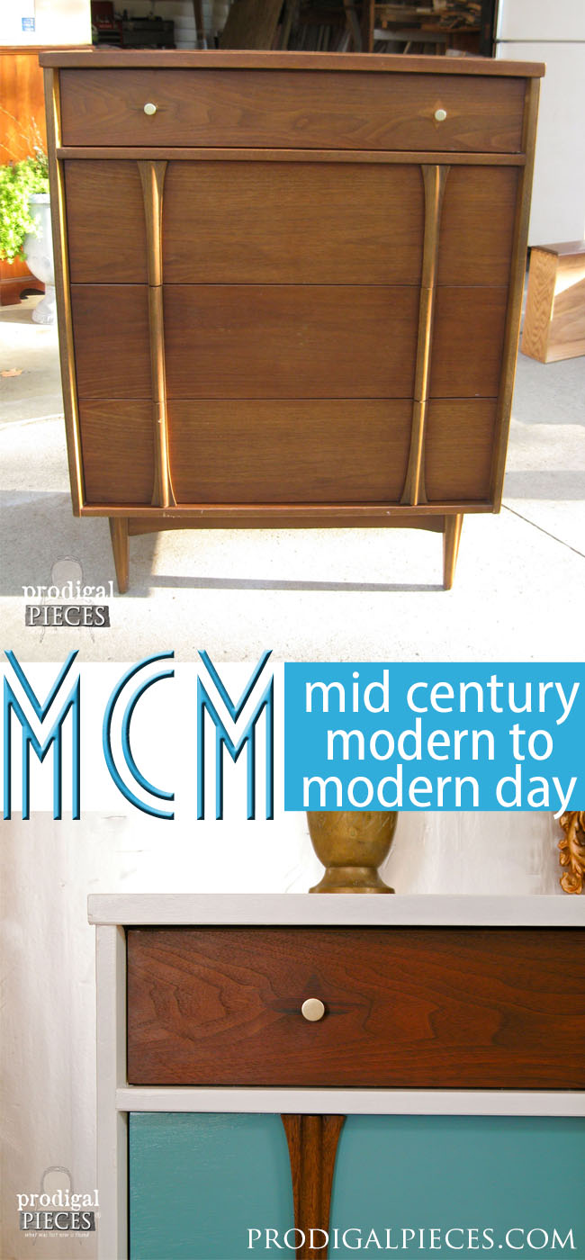 Sometimes a vintage Mid Century Modern piece of furniture can use an update. Here is a fantastic way to bring those tired pieces into modern day design by Prodigal Pieces | prodigalpieces.com