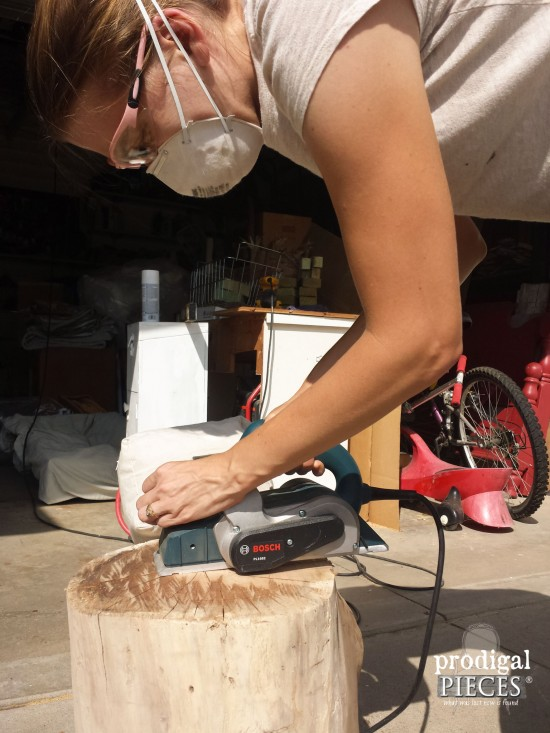 Planing Tree Stump for DIY Table | prodigalpieces.com