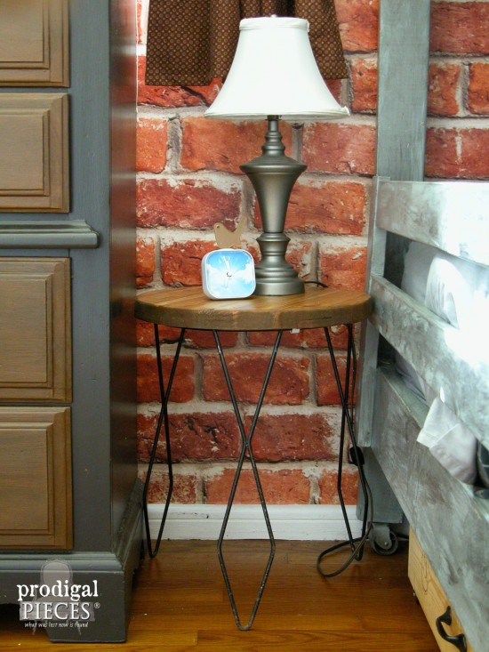 Industrial Hairpin Side Table Nightstand by Larissa of Prodigal Pieces | prodigalpieces.com