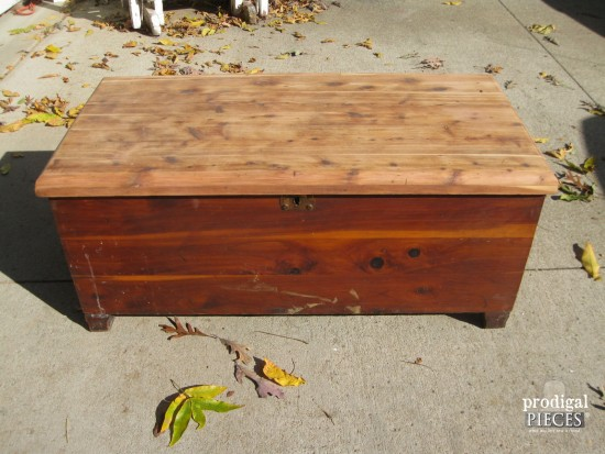 sanded down cedar chest by prodigal pieces