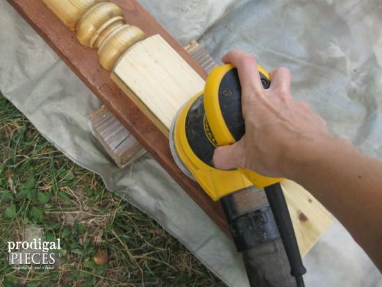 Sanding Reclaimed Mantel | prodigalpieces.com