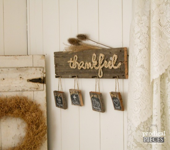 Weathered Barn Wood Thankful sign by Prodigal Pieces for | www.prodigalpieces.com