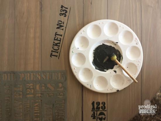 Stenciling DIY Faux Crate Table | prodigalpieces.com