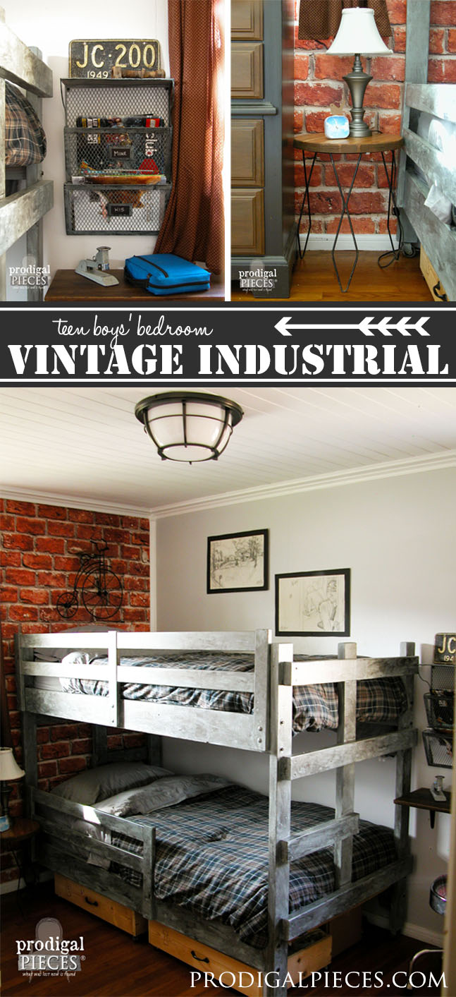 Vintage Industrial Teen Boy's Bedroom Makeover by Prodigal Pieces | www.prodigalpieces.com