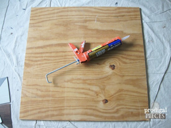 Gluing Tile onto Board for Faux Wall Quilt | Prodigal Pieces | www.prodigalpieces.com