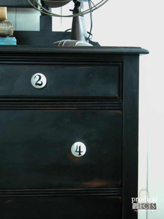 Numbered Pulls on Vintage Chic Dresser by Prodigal Pieces | www.prodigalpieces.com
