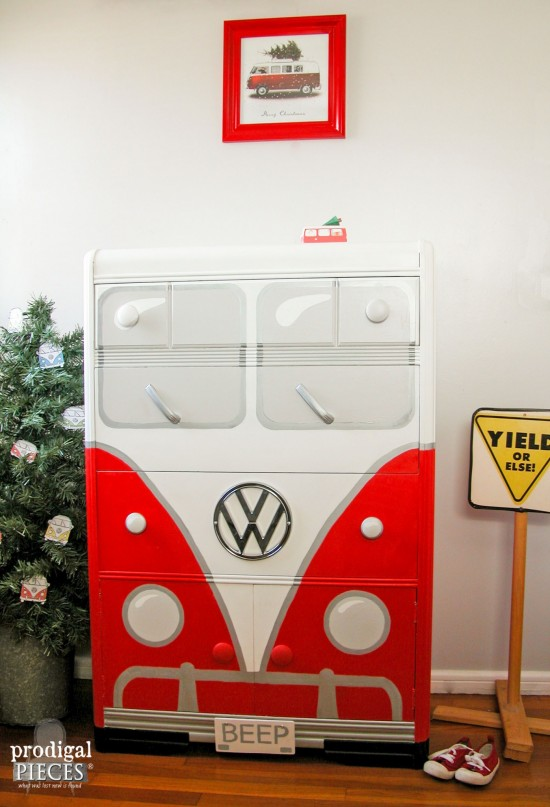An Art Deco waterfall chest of drawers makes the perfect Volkswagen Bus. This time around it's all about that RED for BEEP II by Prodigal Pieces | prodigalpieces.com #prodigalpieces