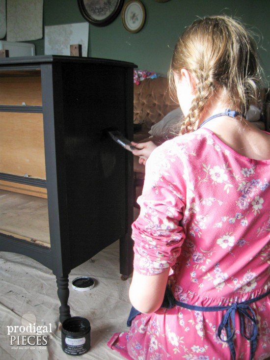 Teen Girl Painting Vintage Dresser | Prodigal Pieces | www.prodigalpieces.com