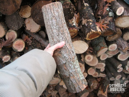 Piece of Firewood for DIY Bird Feeder by Prodigal Pieces | www.prodigalpieces.com