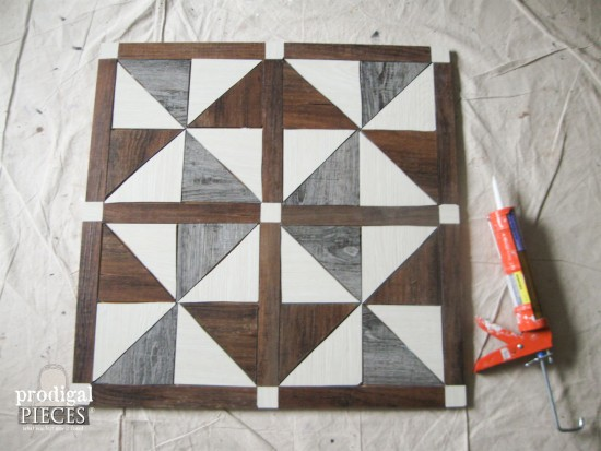 Drying Faux Barn Wood Quilt DIY by Prodigal Pieces | www.prodigalpieces.com