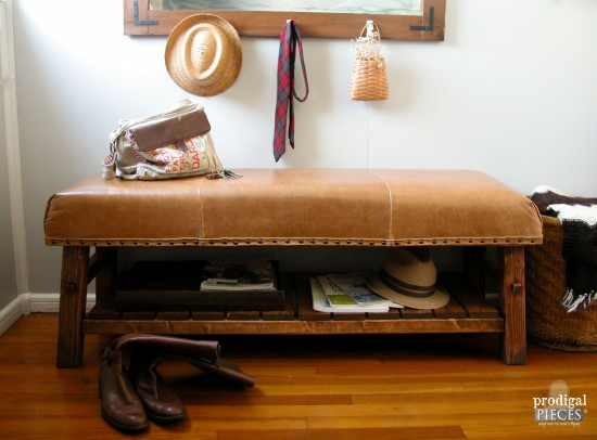 Why pay big bucks for Pottery Barn when you can DIY? For less than half the retail cost, we built a knock-off of the PB Caden leather bench. Come see how we did it! by Prodigal Pieces www.prodigalpieces.com #prodigalpieces