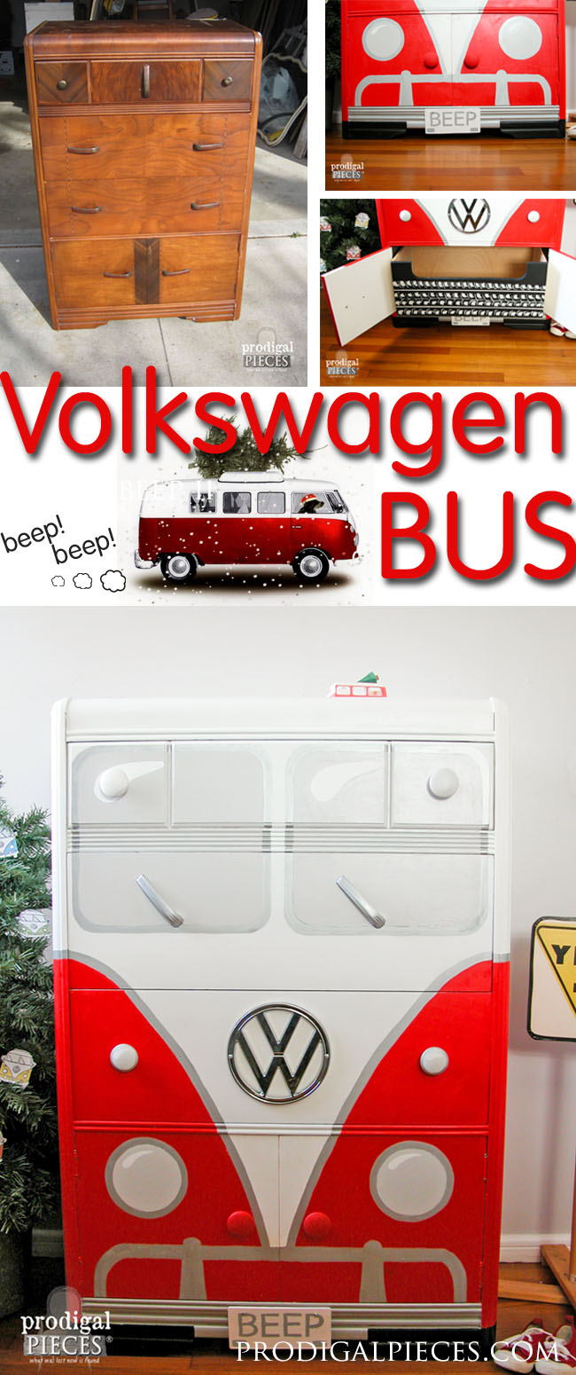 An Art Deco waterfall chest of drawers makes the perfect Volkswagen Bus. This time around it's all about that RED by Prodigal Pieces | prodigalpieces.com