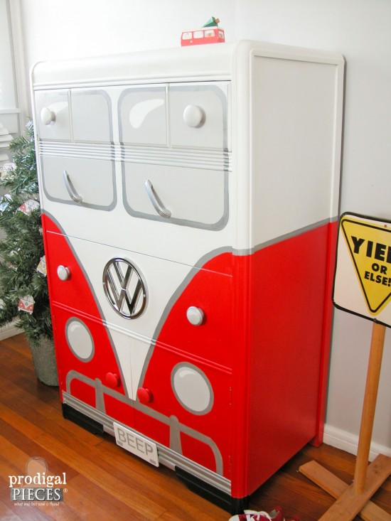 Art Deco Volkswagen Bus Chest in Red by Larissa of Prodigal Pieces   prodigalpieces.com