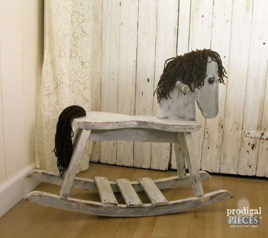 Vintage White Rocking Horse, Hobby Horse by Prodigal Pieces | prodigalpieces.com