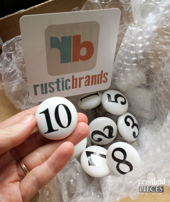 Industrial Style Numbered Knobs by Rusitc Brands for Dresser Makeover by Prodigal Pieces | www.prodigalpieces.com