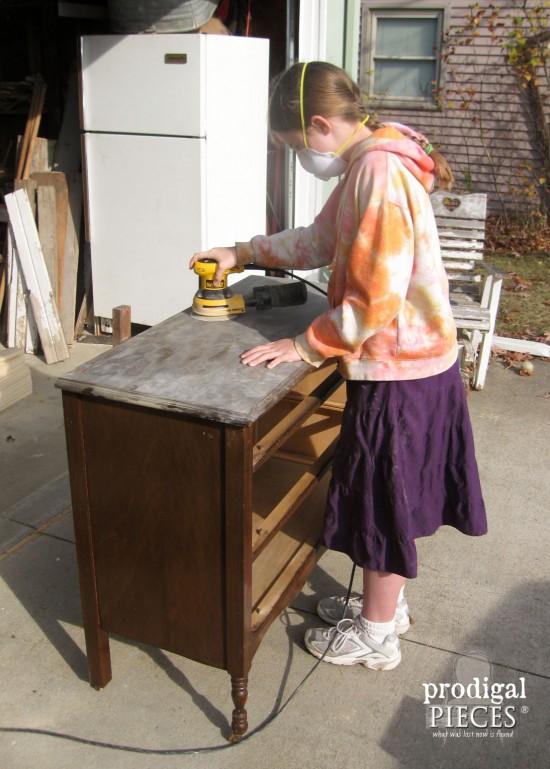 Teen Girl Giving Vintage Dresser a Makeover | Prodigal Pieces | www.prodigalpieces.com