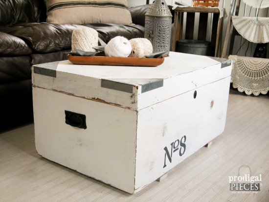 Farmhouse Industrial Trunk as Coffee Table by Larissa of Prodigal Pieces | prodigalpieces.com