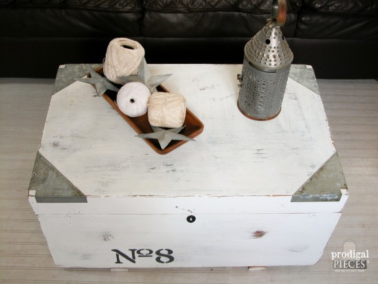 Farmhouse Style Coffee Table Trunk by Larissa of Prodigal Pieces | prodigalpieces.com