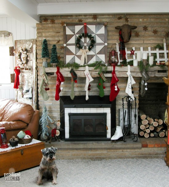 It's a rustic farmhouse Christmas in our house. From handmade stockings to the DIY wall quilt as a backdrop, it's all about family. | Prodigal Pieces | www.prodigalpieces.com
