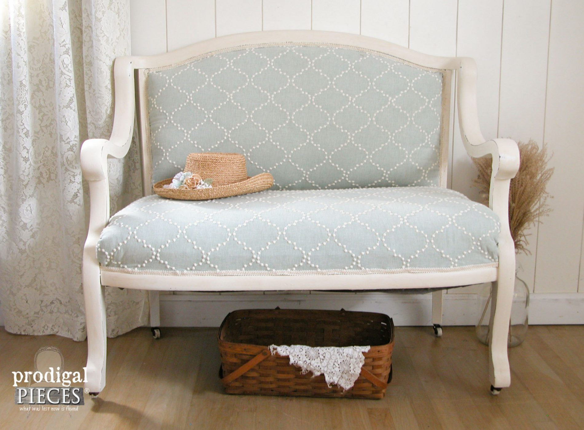 """An antique settee left for the trash with a broken arm and in need of repair is a junkers """"Trashure"""" (one man's junk is another woman's treasure). With some TLC it is made new by Prodigal Pieces www.prodigalpieces.com #prodigalpieces"""