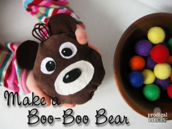 Help your little one through those owies and ear aches with a Boo-Boo Bear rice ice and heat pack. Come get the tutorial by Prodigal Pieces www.prodigalpieces.com #prodigalpieces