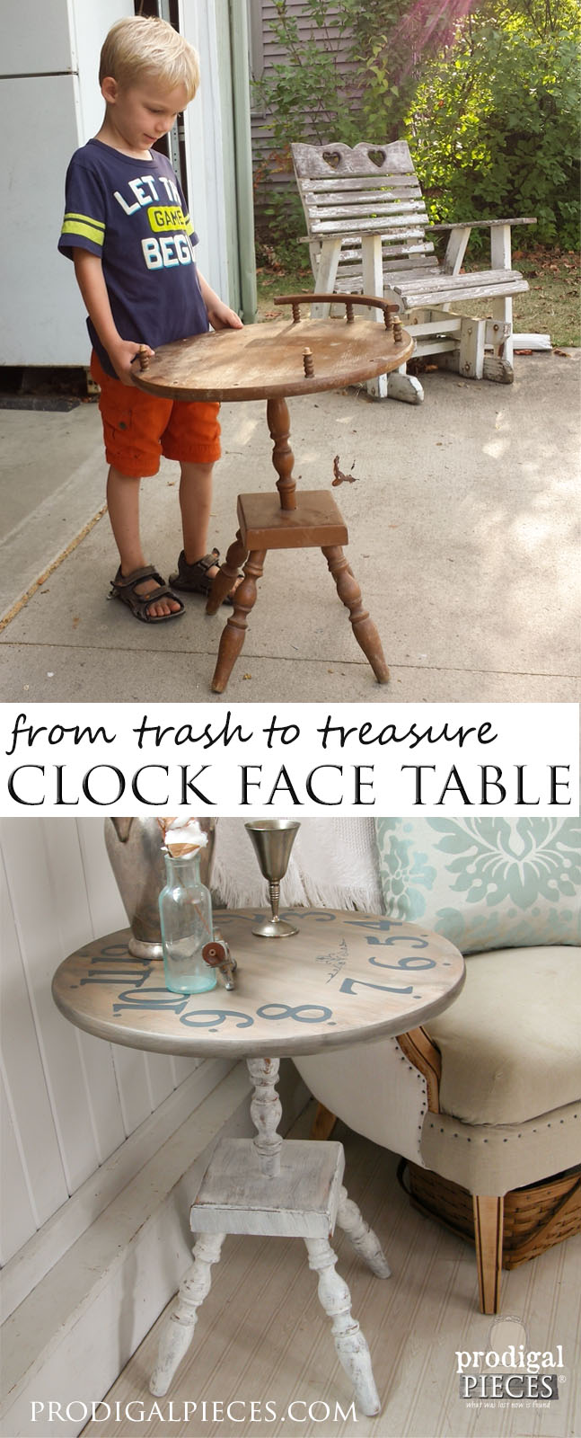 Clock Face Table from Trashure Finds by Prodigal Pieces | prodigalpieces.com