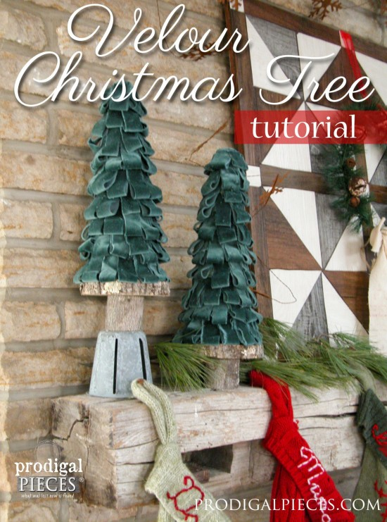 Create these beautiful velour Christmas trees using a few basic supplies and repurposed parts. Come get the DIY tutorial at Prodigal Pieces | prodigalpieces.com