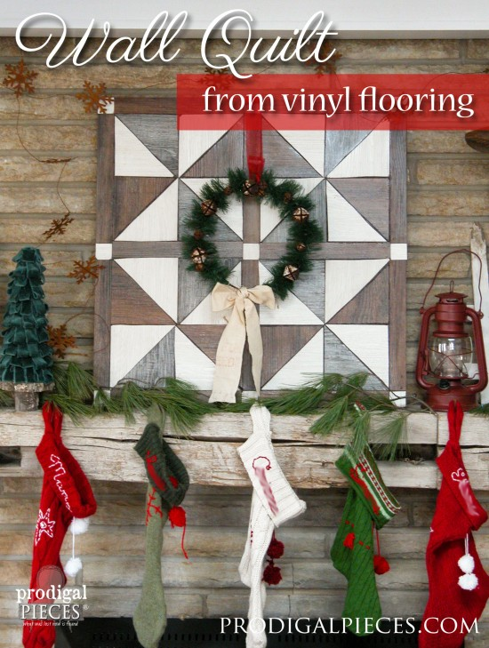 Create a faux barn wood wall quilt using vinyl flooring with this easy DIY tutorial by Prodigal Pieces | www.prodigalpieces.com