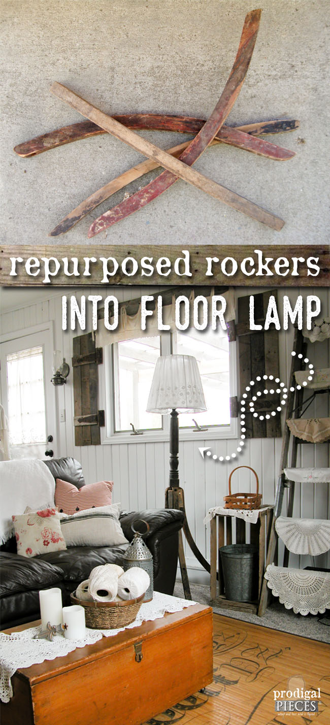 Repurposed Antique Rockers and Table Leg Become Floor Lamp | Prodigal Pieces | www.prodigalpieces.com